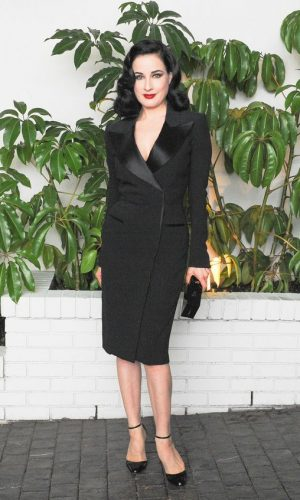 dita von teese, tuxedo dress, vestido blazer, moda, estilo, look, fashion, style, outfit