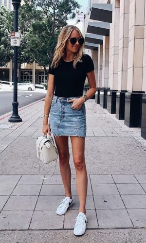 mini saia jeans, moda, estilo, look, inspiração, denim skirt, fashion, style, outfit, inspiration