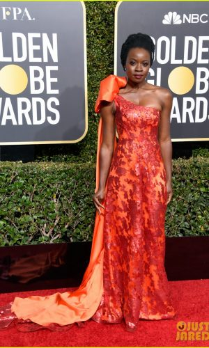 golden globes 2019, golden globes, awards season, red carpet, fashion, look, gown, tapete vermelho, premiação, moda, look, vestido longo, hollywood, danai gurira