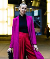 roxo e vermelho, looks, color block, purple and red